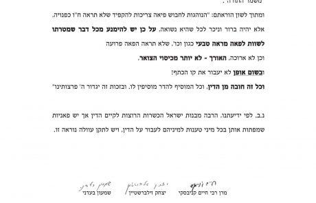 """מכתב גדולי ישראל ורבני הקהילות אסור לשוות לפאה מראה טבעי, אלול תשפ""""א"""