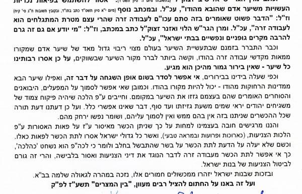 המכתב המקורי החתום בכתב ידם של הרבנים שכל הפאות כיום בחשש עבודה זרה